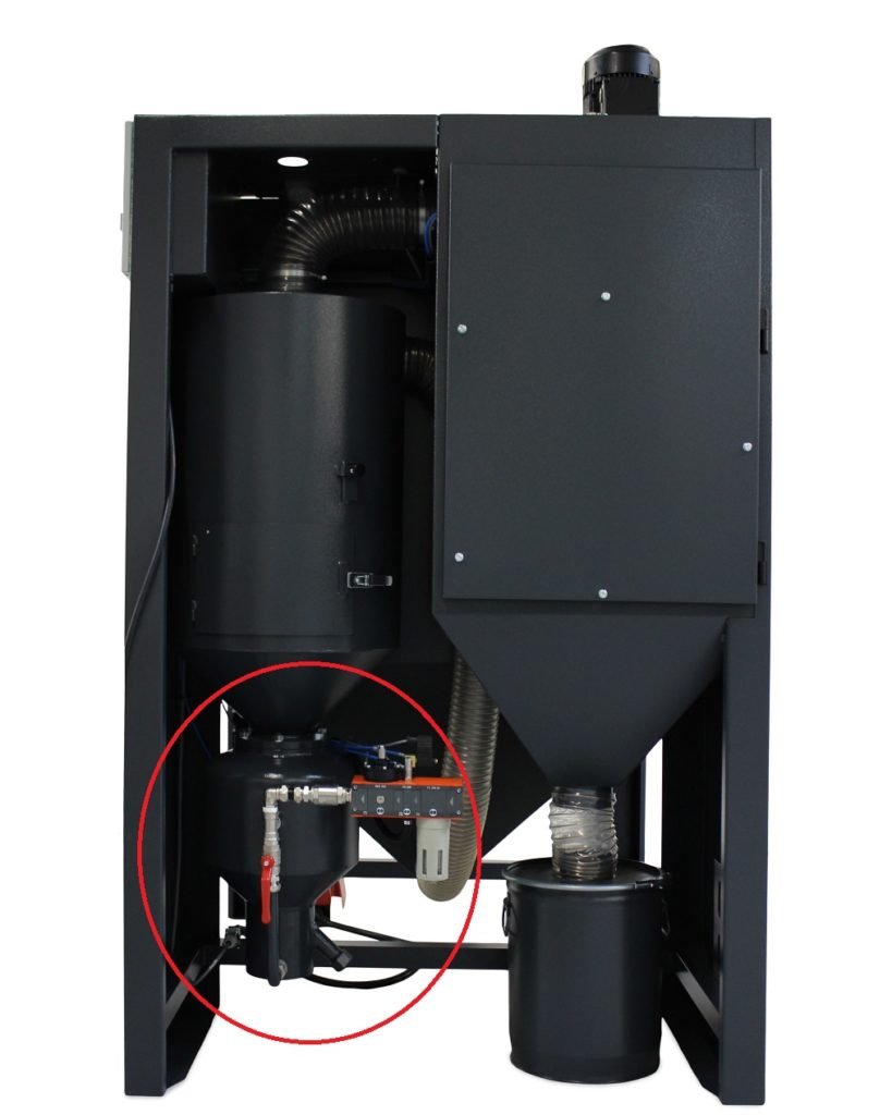 Normfinish DP blåsekabinett med markert trykktank